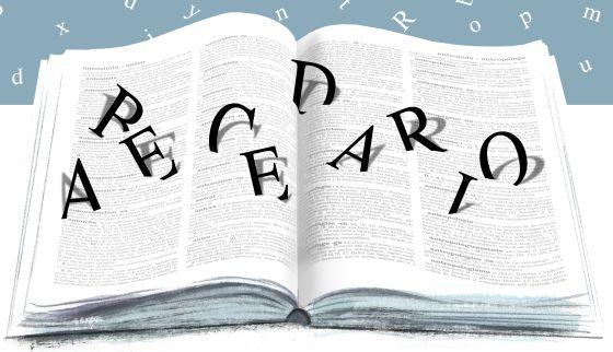 ilustración de un diccionario abierto