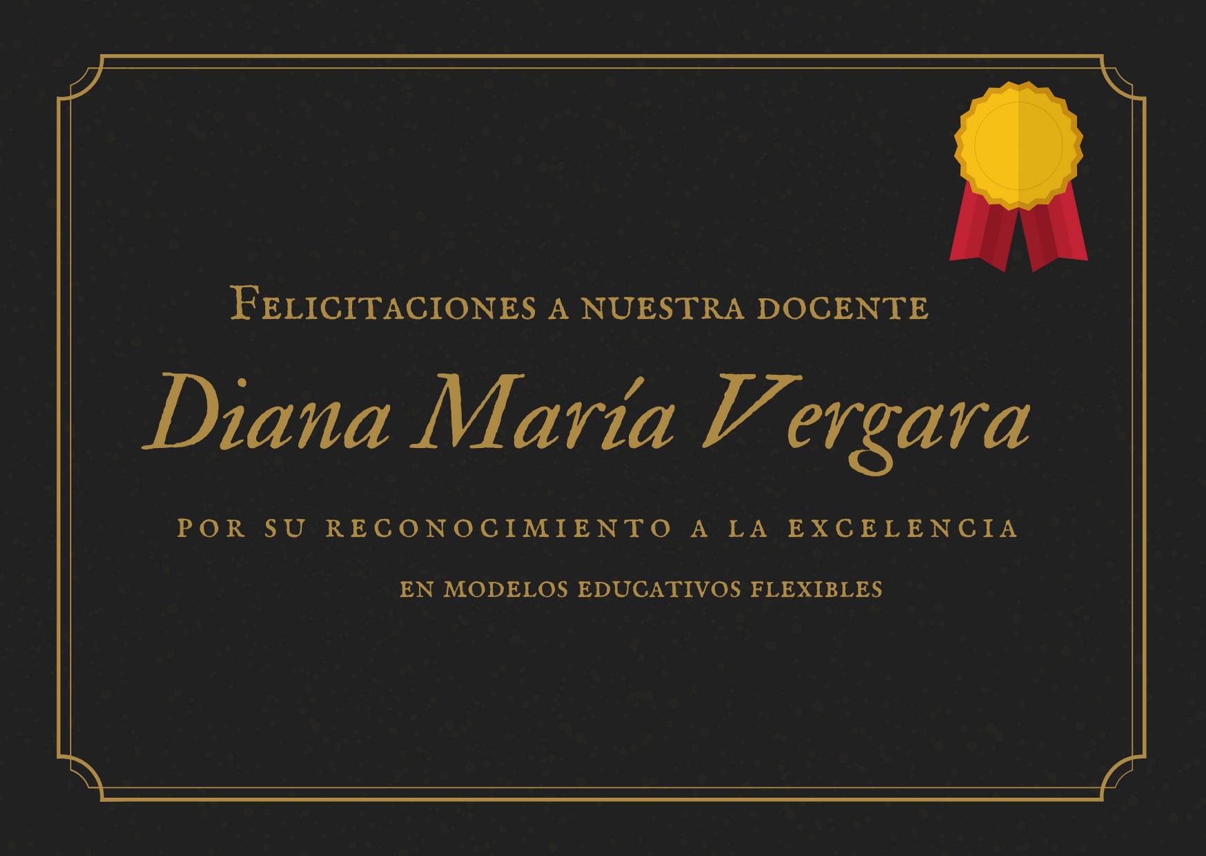 Reconocimiento a Docente Diana Vergara