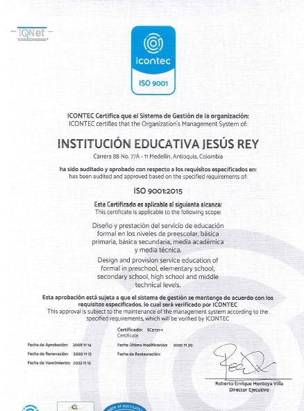 Certificado ICONTEC Jesus Rey 2023
