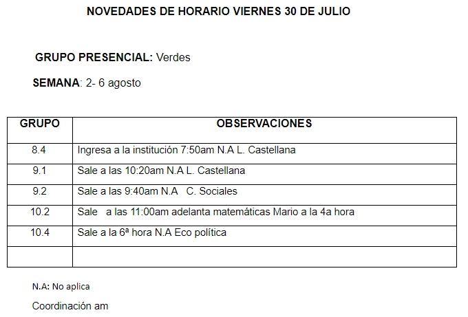 Novedades Horarios Jornada de la mañana 30 de julio 2021