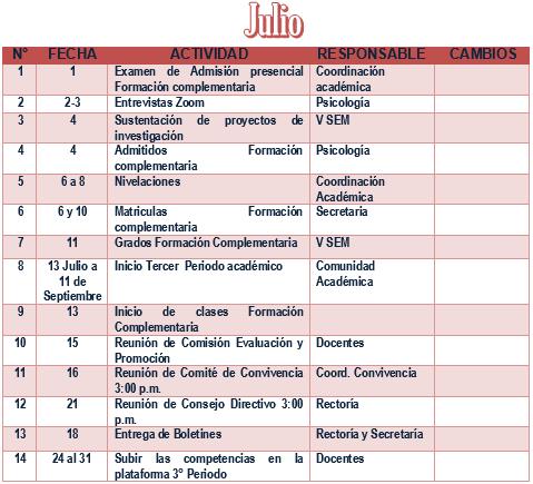 PLAN OPERATIVO DE JULIO