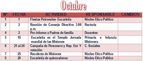 PLAN OPERATIVO DE OCTUBRE