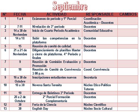 PLAN OPERATIVO DE SEPTIEMBRE